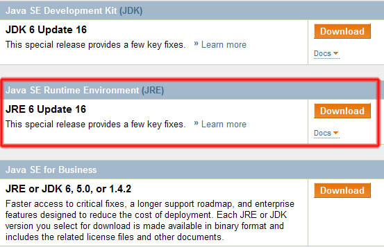 For downloading J2SE Runtime Environment enter